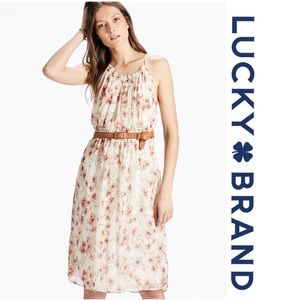 Lucky Brand Carmen Neutral Chiffon Floral Dress L